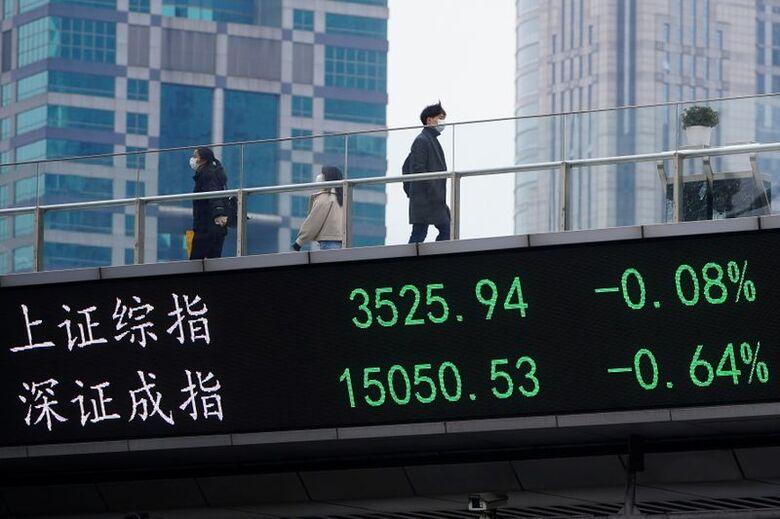 Reuters. Telão em Xangai mostra flutuações dos mercados acionários, 06/01/2021
