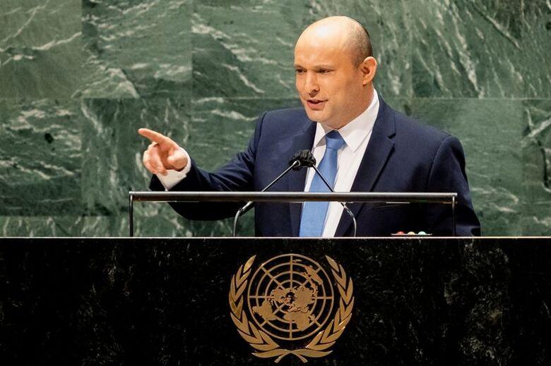 Primeiro-ministro de Israel, Naftali Bennett, durante discurso na Assembleia-Geral da ONU em Nova York