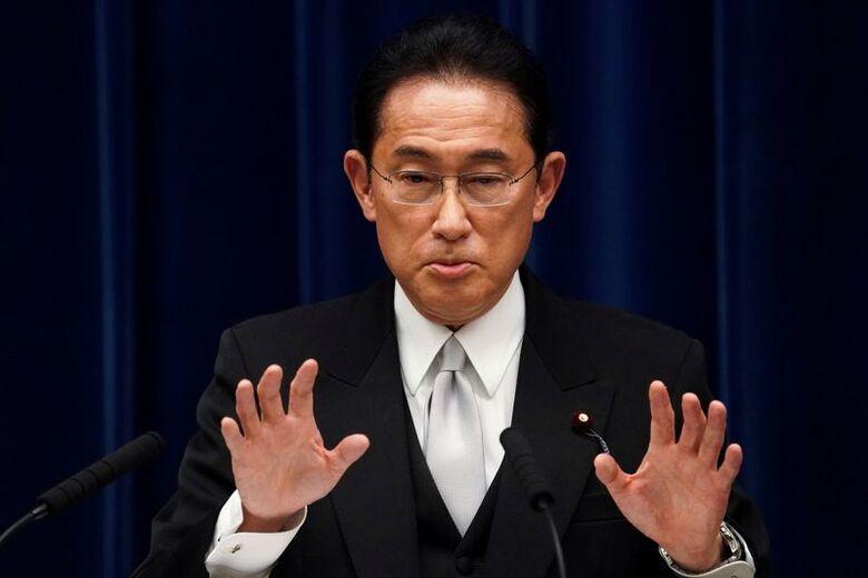 Primeiro-ministro do Japão, Fumio Kishida, durante entrevista coletiva em sua residência oficial em Tóquio