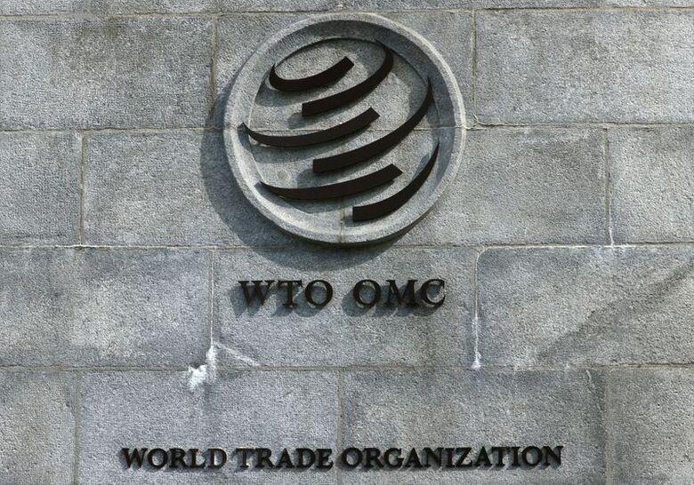 Logo da OMC na sede da organização em Genebra