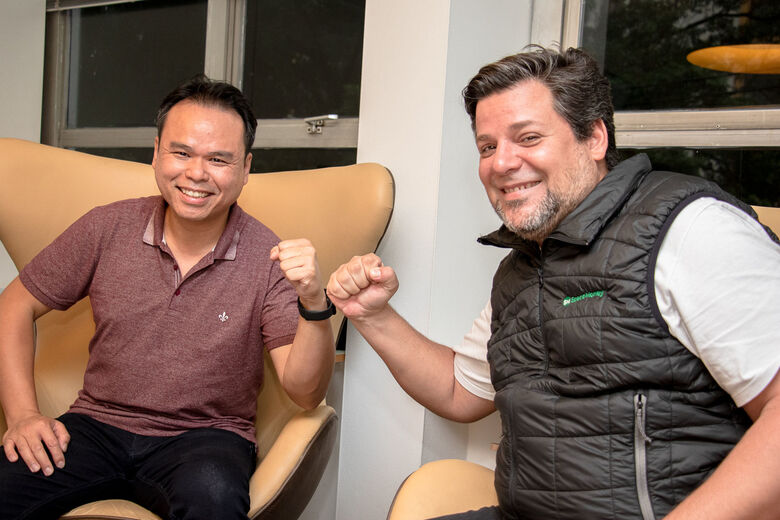 Johnson Chen, co-CEO da SpaceMoney, e Fabio Murad, fundador da SpaceMoney